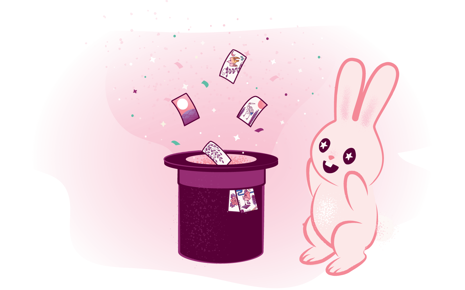 a rabbit gasps as hanafuda playing cards fly from a magic hat